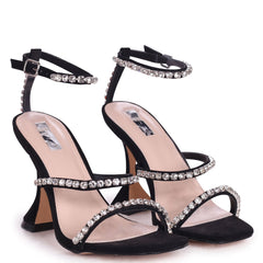 MILLIONAIRE - Black Suede Diamante Embellished Flared Heel With Square Toe