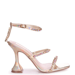 MILLIONAIRE - Gold Iridescent Diamante Embellished Flared Heel With Square Toe