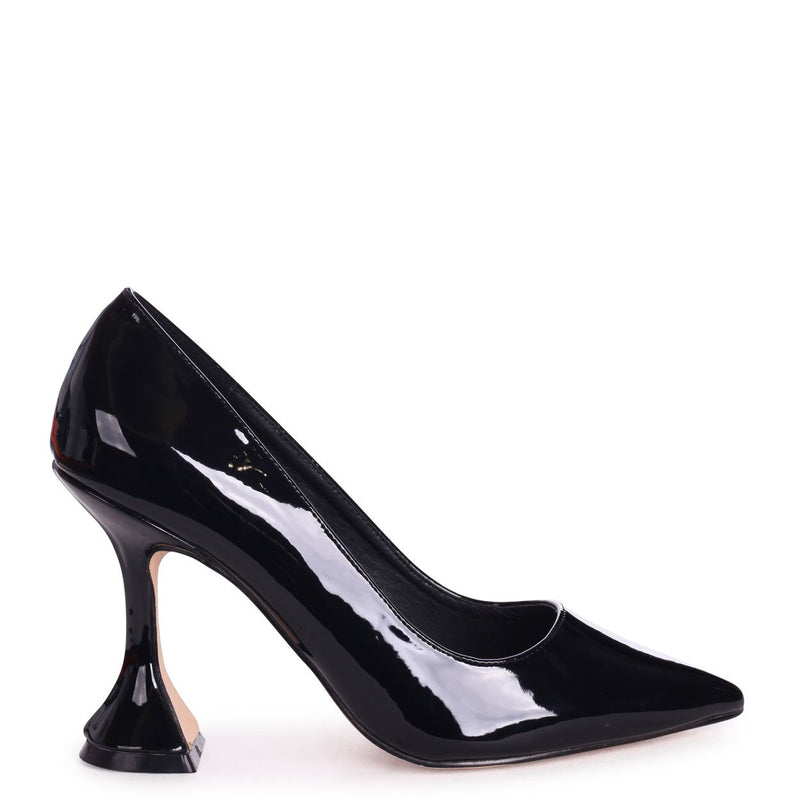 BOMBSHELL - Black Patent Court Shoe With Flared Heel
