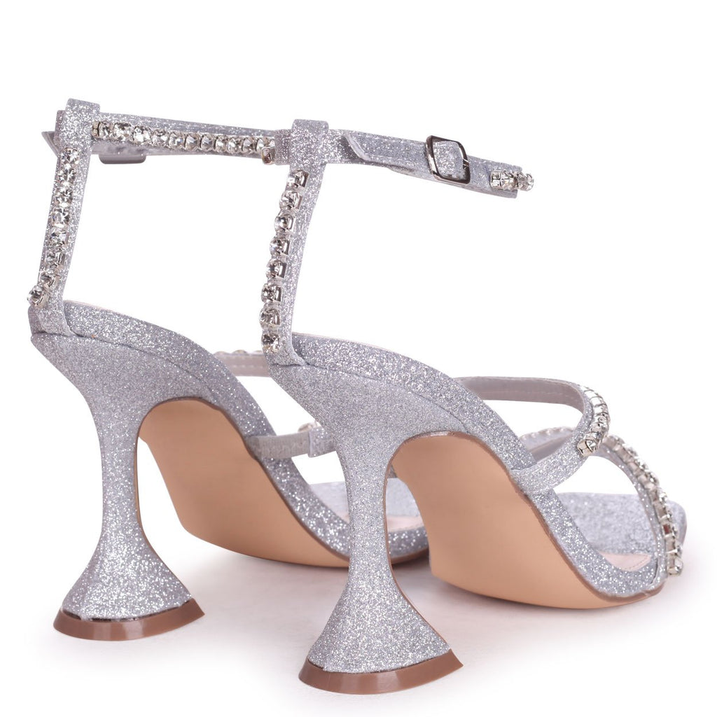MILLIONAIRE - Silver Glitter Diamante Embellished Flared Heel With Square Toe