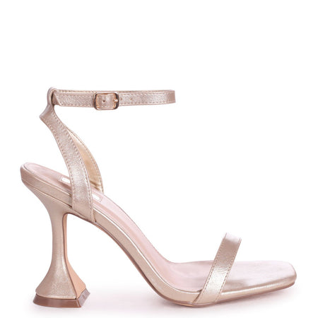 MALDIVES - White Nappa & Beige Canvas Barely There Block High Heel