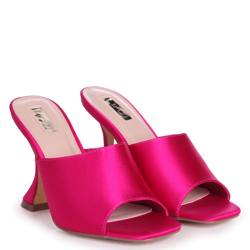 TAMED - Hot Pink Satin Flared Heel Mule