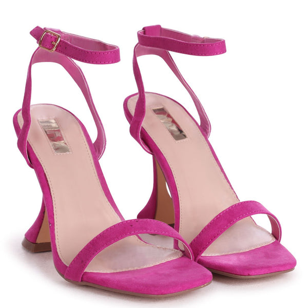 HERO - Fuchsia Suede Barely There With Flared Heel