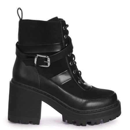 DESIRE - White Nappa Military Style Lace Up Boot With Chunky Black Rubber Sole