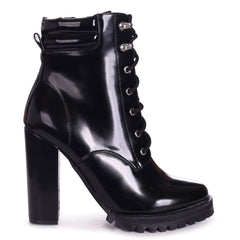 LAINA - Black Shiny Block Heeled Military Boot With Cleated Sole