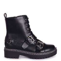 LACEY - Black Nappa Military Style Lace Up Boot With Chain & Buckle Detail