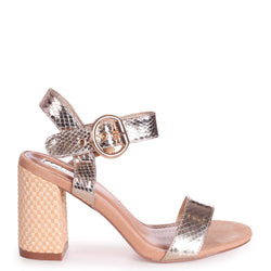 HAPPY - Gold Lizard Sandal With Raffia Heel