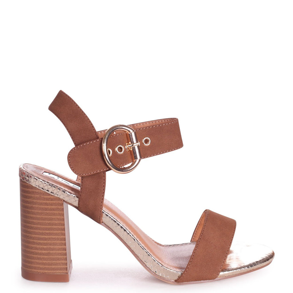 HAPPY - Tan Suede & Gold Lizard Sandal With Stacked Heel
