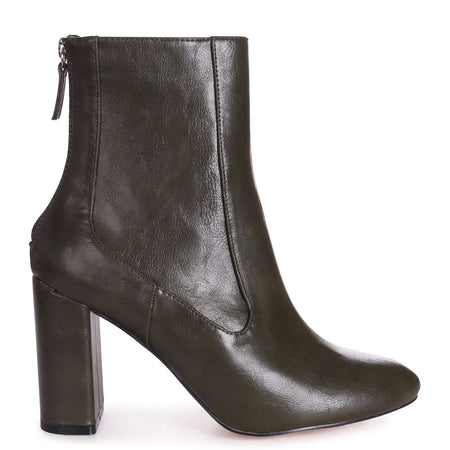 SIMPLY - Black Patent Croc Square Toe Boot With Block Heel