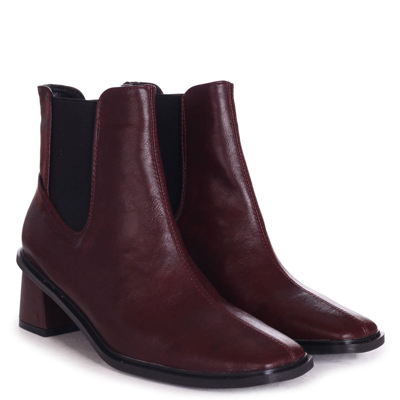 TIME - Burgundy Nappa Square Toe Chelsea Boot With Block Heel