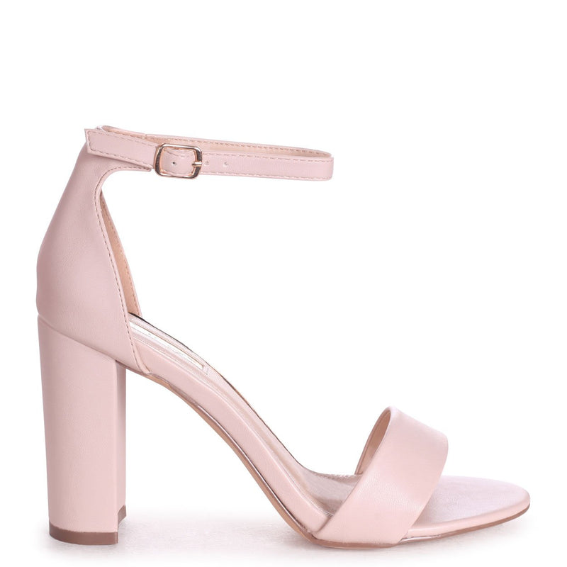SELENA - Nude Nappa Barely There Block High Heel