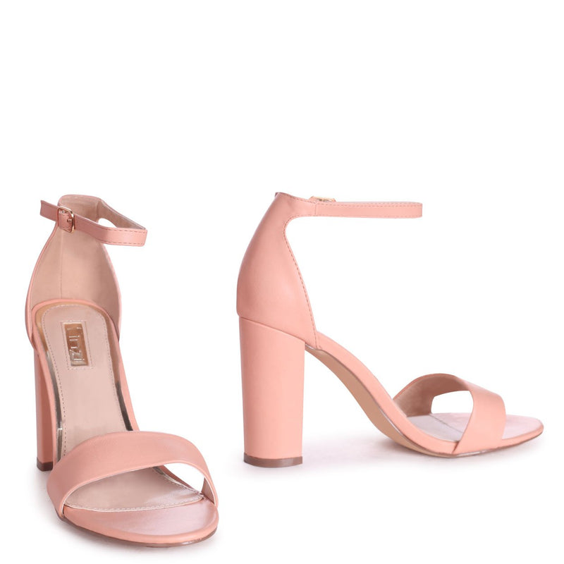 SELENA - Peach Nappa Barely There Block High Heel