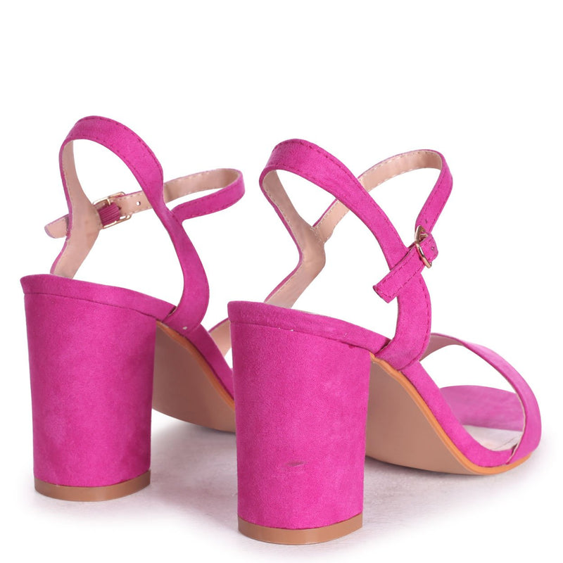 CHERUB - Fuchsia Suede Open Back Barely There Block Heeled Sandal