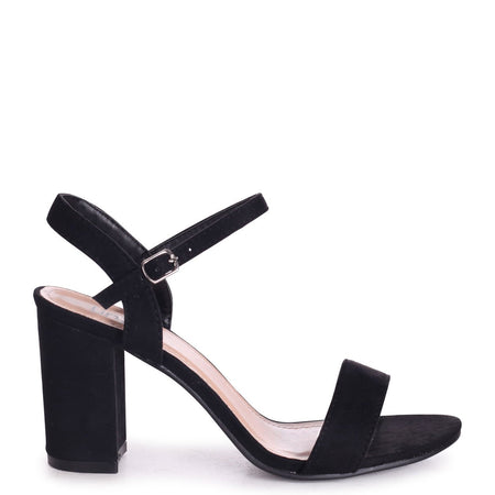 FREYA - Black Patent Stiletto Open Back Platform With Crossover Front Straps