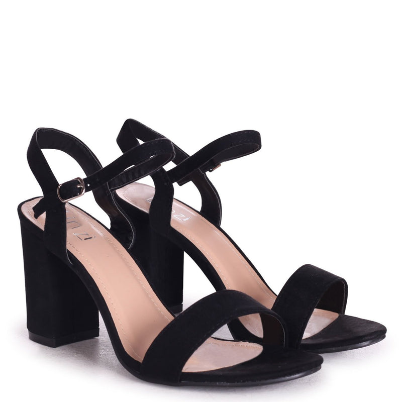CHERUB - Black Suede Open Back Barely There Block Heeled Sandal