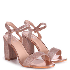 CHERUB - Rose Gold Glitter Open Back Barely There Block Heeled Sandal
