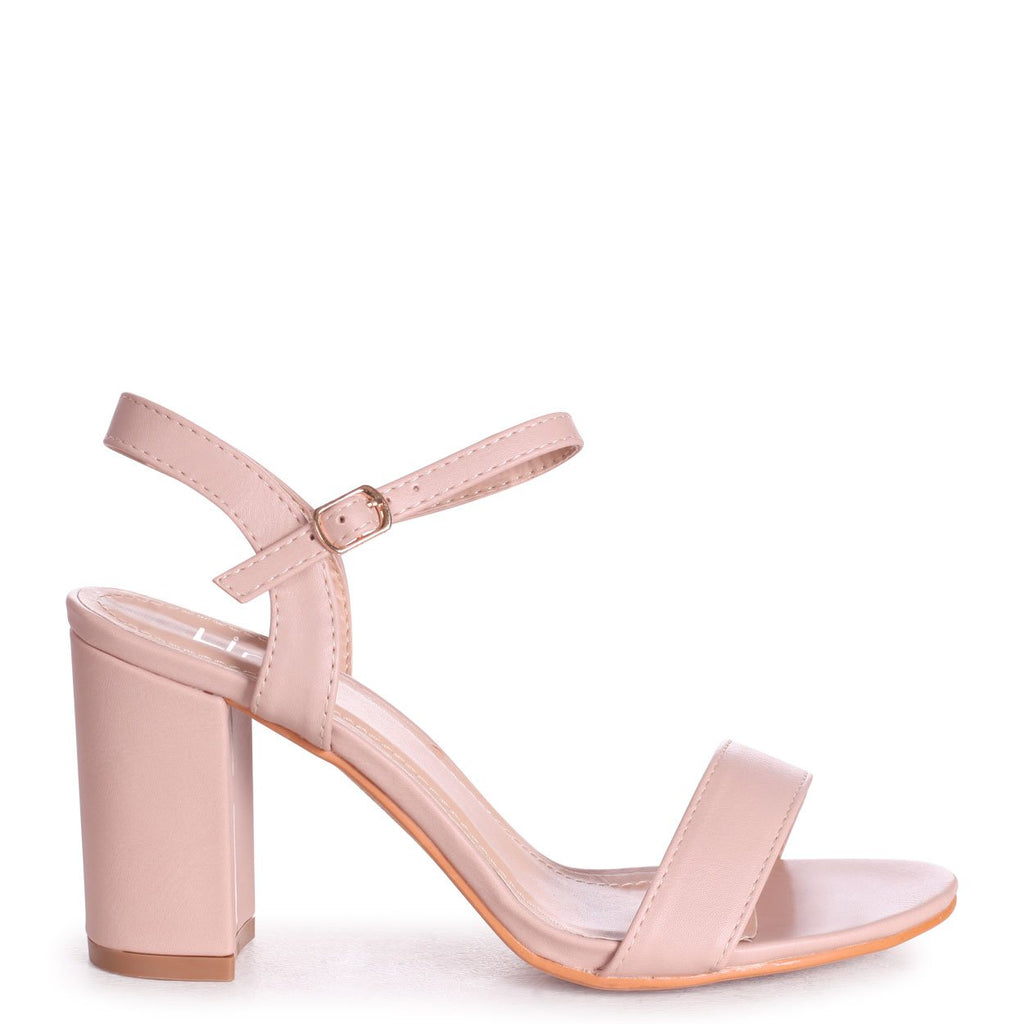 CHERUB - Nude Nappa Open Back Barely There Block Heeled Sandal