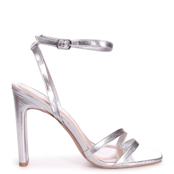 SWEETHEART - Silver Metallic Slim Heeled Sandal With Double Front Strap
