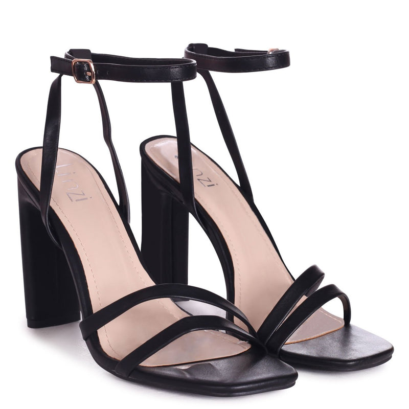 SWEETHEART - Black Nappa Slim Heeled Sandal With Double Front Strap