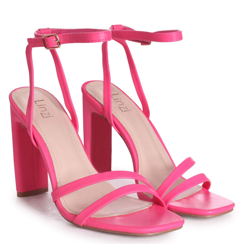 SWEETHEART - Hot Pink Nappa Slim Heeled Sandal With Double Front Strap