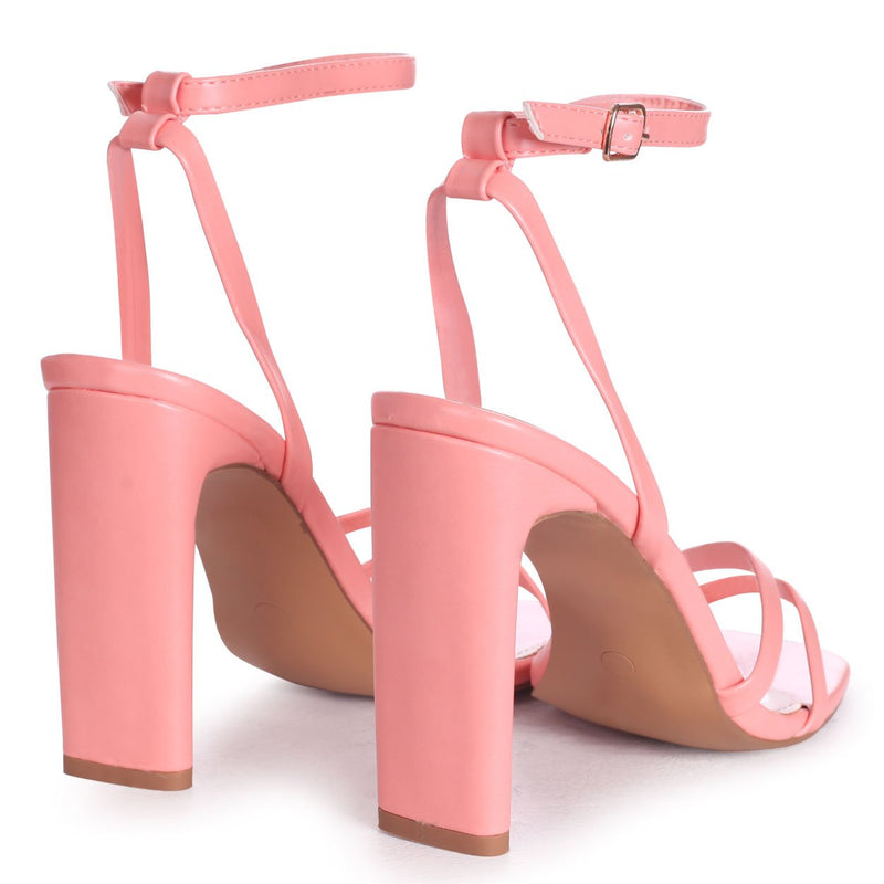 SWEETHEART - Peach Nappa Slim Heeled Sandal With Double Front Strap