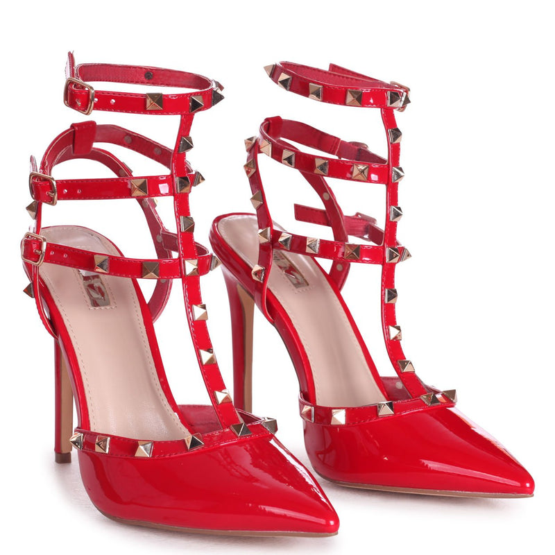 SO EXTRA - Red Patent Gladiator Style Studded Court Heel