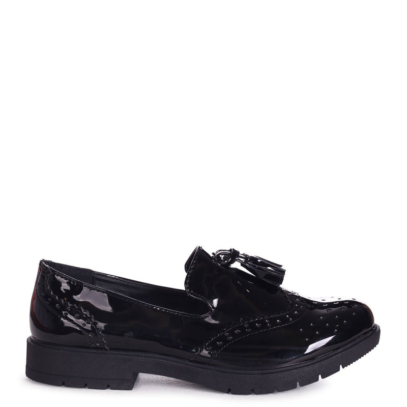 LISA - Black Patent Chunky Loafer with Tassel Detail