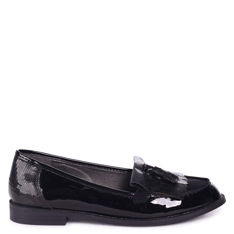 ROSEMARY - Black Patent Lizard Classic Slip On Loafer
