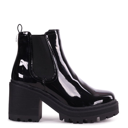 DONNA - Black Suede & Patent Croc Pull On Block Heeled Ankle Boot