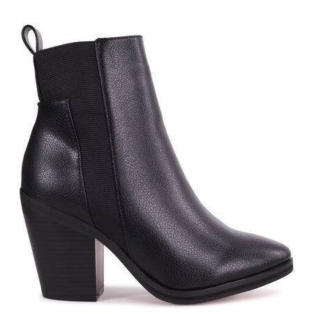 JENI - Tan Nappa & Croc Stacked Block Heeled Ankle Boot With Buckle Detail
