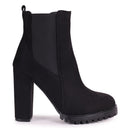 SHIMMY - Black Suede Heeled Ankle Boot Block Heel & Cleated Sole