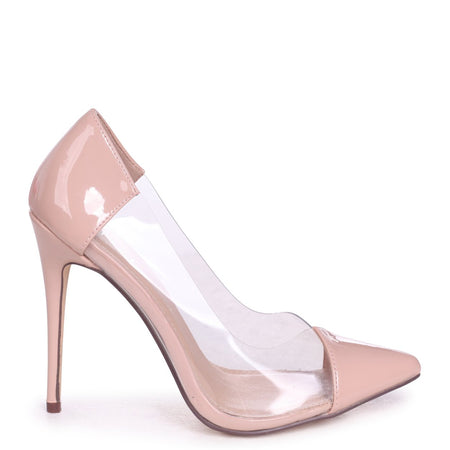 54be80923a636 MELANIE - Tan Nappa Tie Up Flatform with All Over Floral Detail. KYLIE -  Nude Patent Faux Patent Leather Perspex Heel