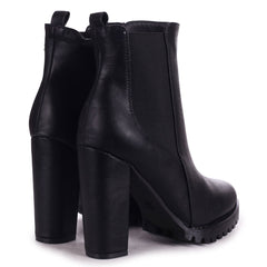 ATTRACTION - Black Nappa Round Toe Heeled Ankle Boot With Block Heel & Cleated Sole