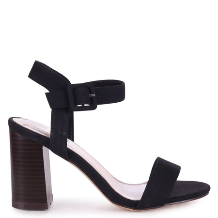 MIA - Black Suede Heavy Stiletto Platform With Double Ankle Strap & Crossover Front Strap