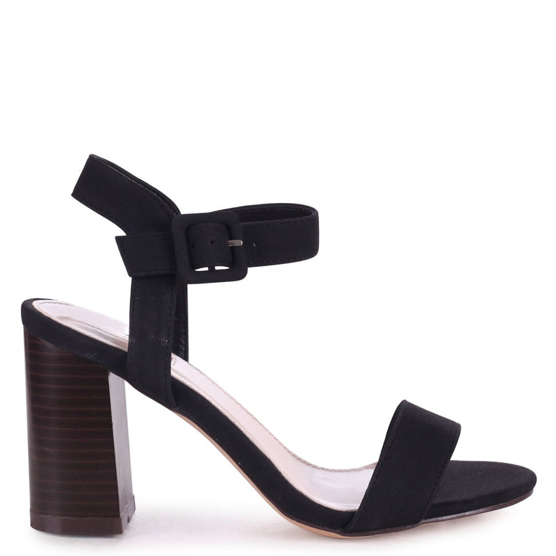 KATE - Black Nubuck Open Toe Stacked Block Heel With Ankle Strap