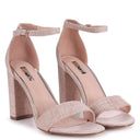 MALDIVES - Beige Canvas Barely There Block High Heel