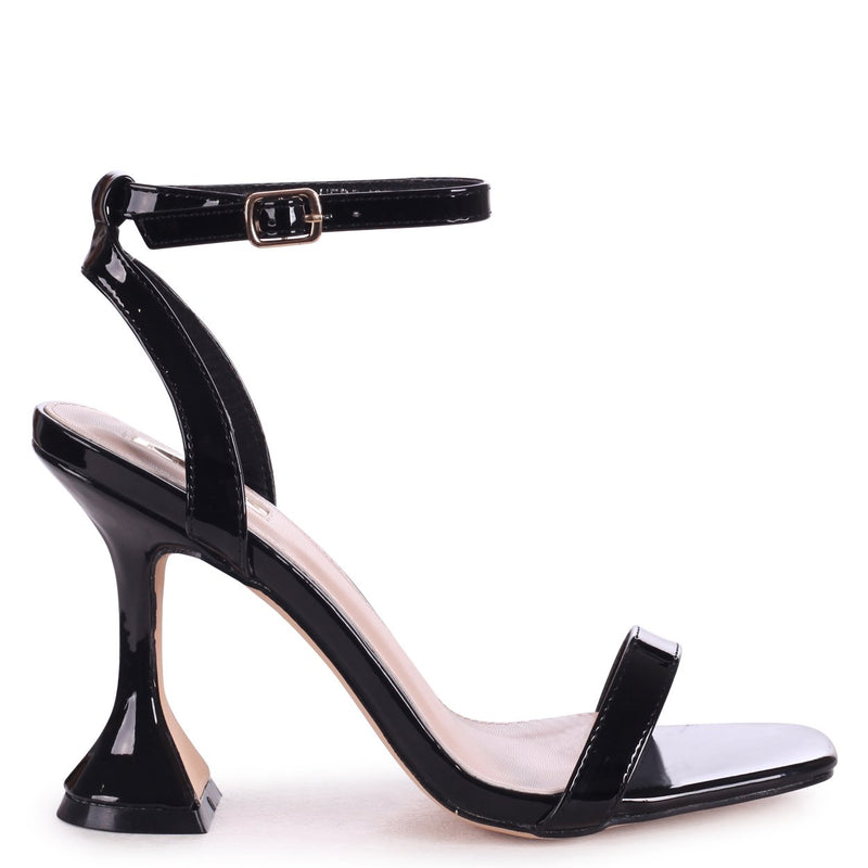 HERO - Black Patent Barely There With Flared Heel