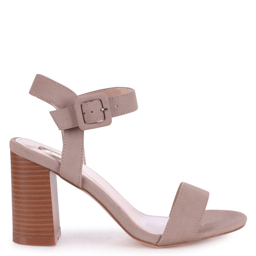 KATE - Concrete Nubuck Open Toe Stacked Block Heel With Ankle Strap