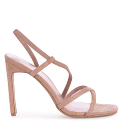 STARLIGHT - Nude Suede Sling Back Strappy Slim Heel