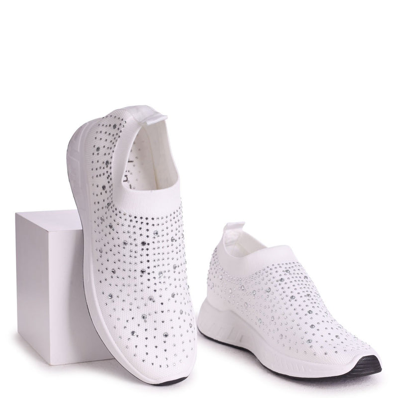 LARA - White Sock Trainer With All Over Diamante Detail & White Rubber Sole