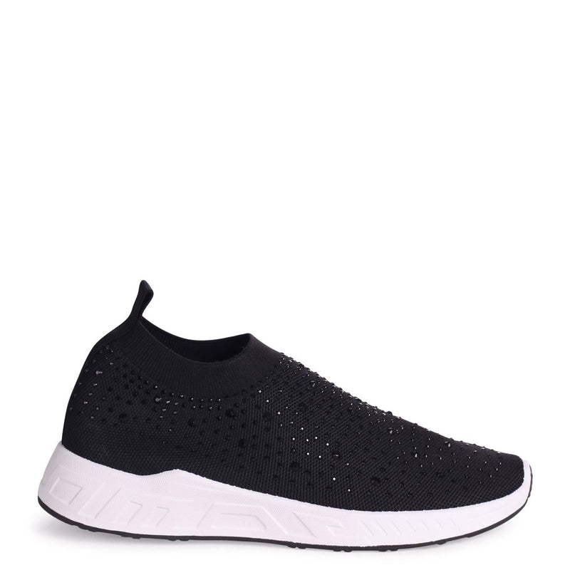 LARA - Black Sock Trainer With All Over Diamante Detail & White Rubber Sole