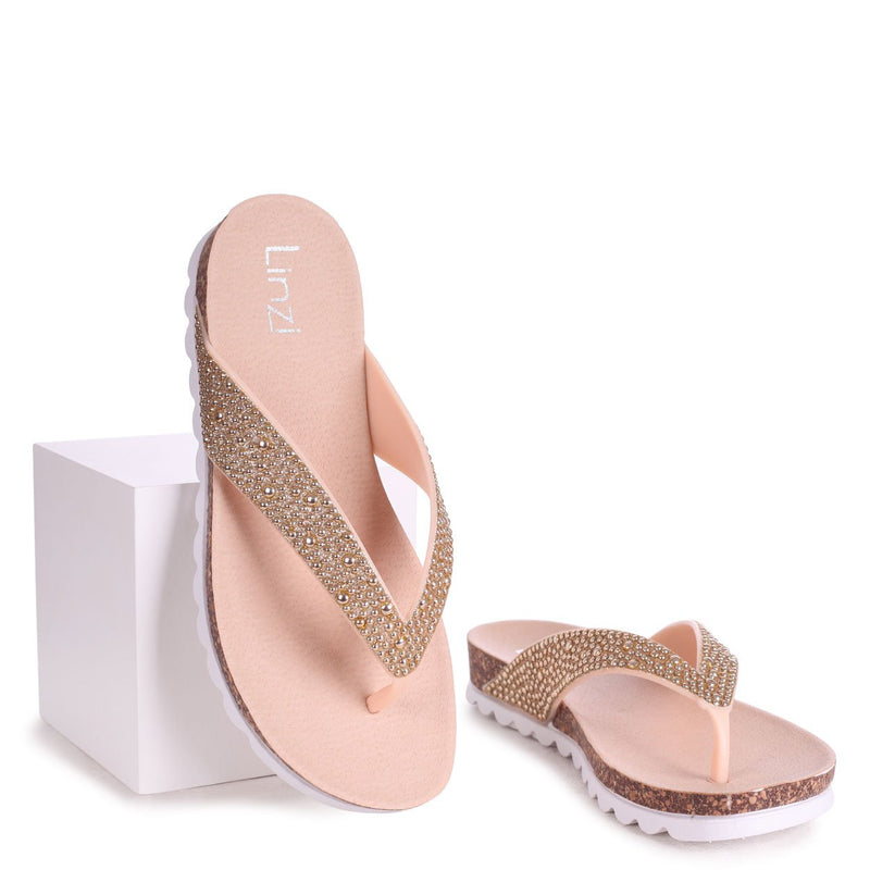HAZE - Nude Footbed Style Flip Flop With Textured Straps