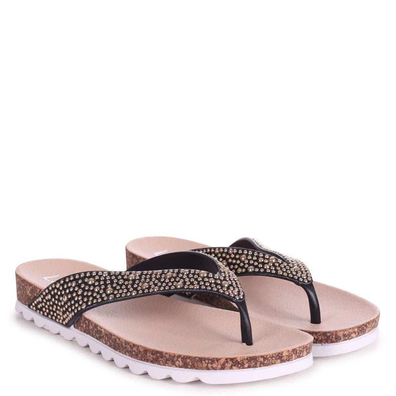 HAZE - Black Footbed Style Flip Flop With Gold Textured Straps