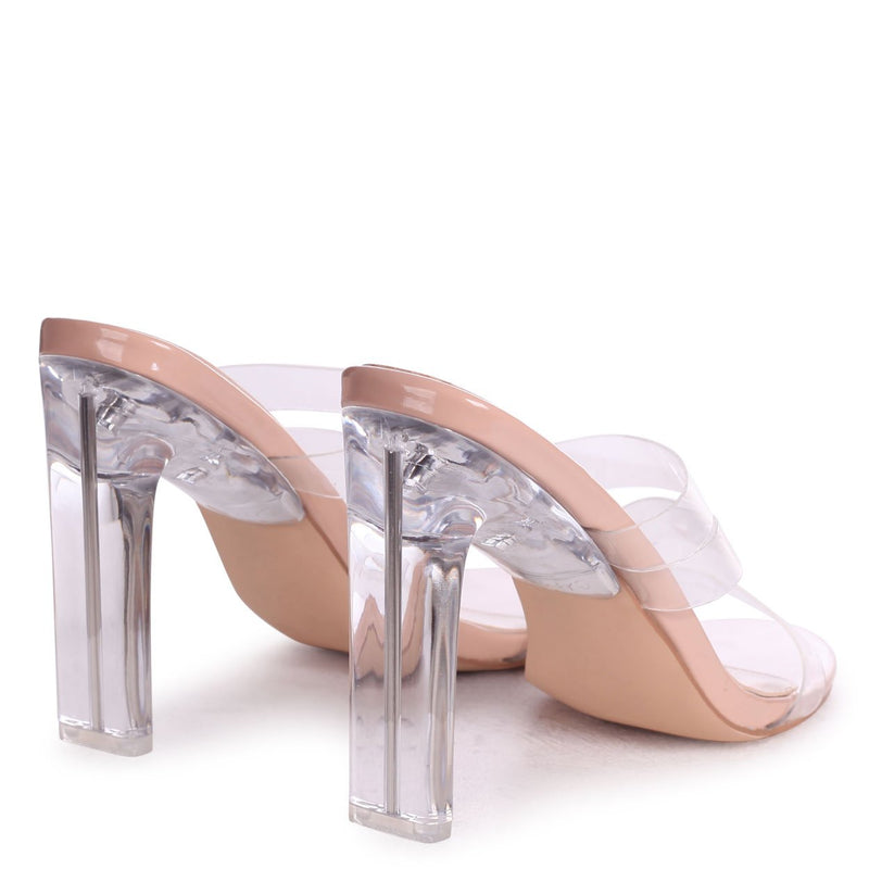 SO PROUD - Nude Patent Triple Front Strap Perspex Mule With Plastic Thin Block Heel