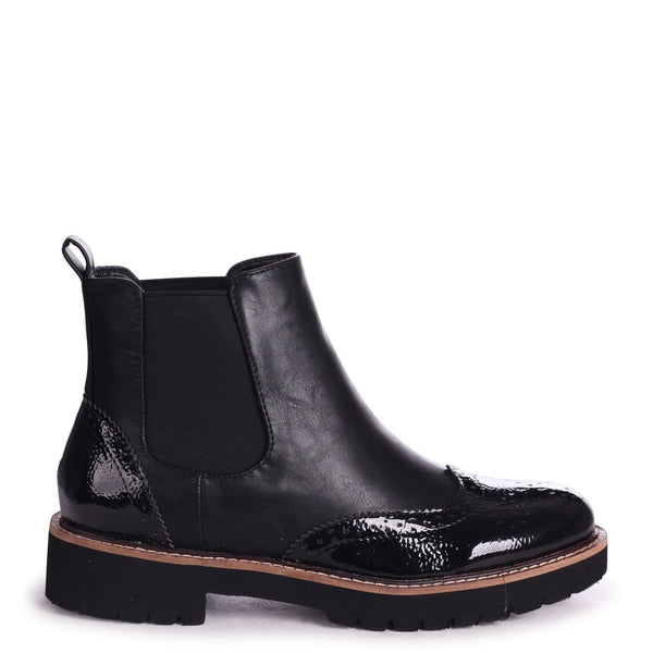 CLEO - Black Nappa & Patent Brogue Style Chelsea Boot