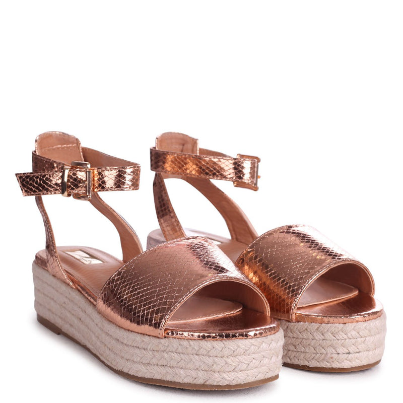 DYNASTY - Rose Gold Lizard Espadrille Inspired Two Part Flatform With Buckle Detail