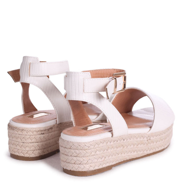 DYNASTY - White Lizard Espadrille Inspired Two Part Flatform With Buckle Detail