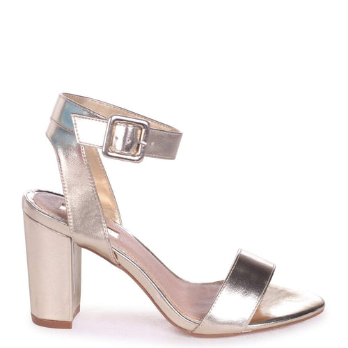 MILLIE - Gold Metallic Open Toe Block Heel With Ankle Strap And Buckle Detail