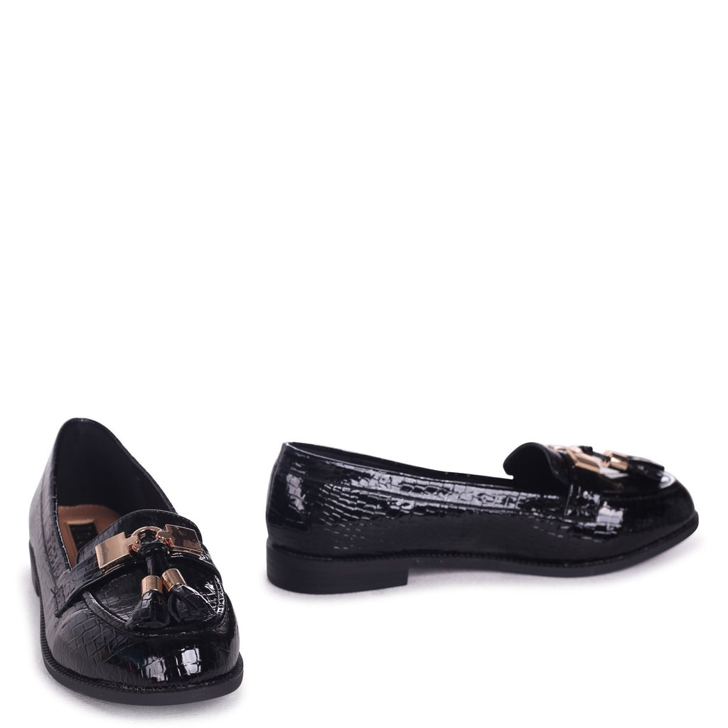 TONIA - Black Croc Patent Classic Loafer with Gold Bar & Tassel Detail
