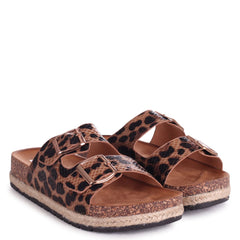 DONTTHINK - Leopard Nubuck Slip On Slider With Rope Trim & Double Buckle Front Strap